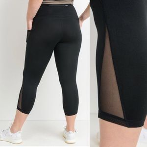 fba019f9f17 Mono B Pants - Plus Size Yoga Pants Pockets Mesh Leggings  022